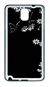 Samsung Galaxy Note 3 Case, iCustomonline Flowers And Butterflies Soft Back Case Cover Skin for Samsung Galaxy Note 3 N9000 - White