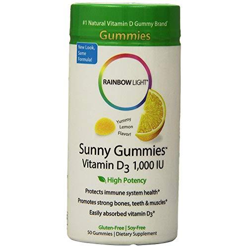 Rainbow Light Vitamin D3 1000 IU Sunny Gummies Lemon 50 ea (Pack of 3)