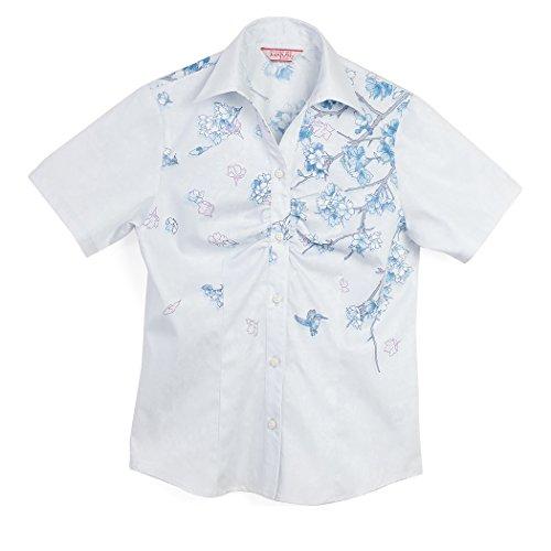 敏感な静かに悩むMAJUN (マジュン) かりゆしウェア アロハシャツ かりゆし 結婚式 レディース シャツ スキッパー ハナミトリ ブルー 4L