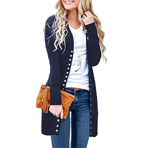 SATINATO Sweaters for Women,Cardigan Sweaters for Women, Long Sleeve Soft Basic Knit Solid Color Cardigan Sweater (Dark Navy, XL)