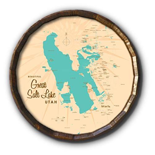 Great Salt Lake Utah Vintage-Style Map Art on 21
