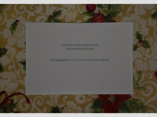 Poinsettia Holly & Berries Swirl Design Photo Greeting Cards