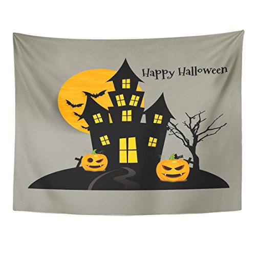 Emvency Tapestry Yellow Sticker Happy Halloween Design Abstract Home Decor Wall Hanging for Living Room Bedroom Dorm 60x80 -