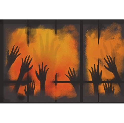 YongFoto 7x5ft Horror Halloween Themed Party Backdrop Yellow Window Hand Shadow Background for Photography Horror Night Zombie Hands Costume Party Banner Kids Adult Portrait Photo Studio Props -