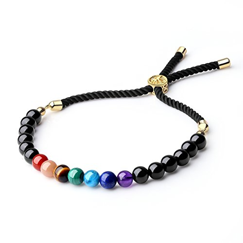 COAI Mala Beads Black Obsidian Stone 7 Chakra Bolo Bracelet for Women