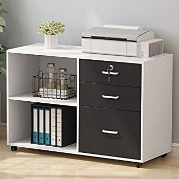 Amazon Com Tribesigns 3 Drawer Wood File Cabinets With