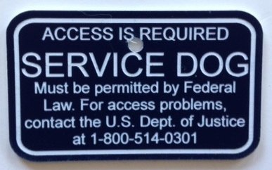 Service Animal Access Required by Law TAG (Medium to Large Dog) (Register My Dog As A Service Dog)