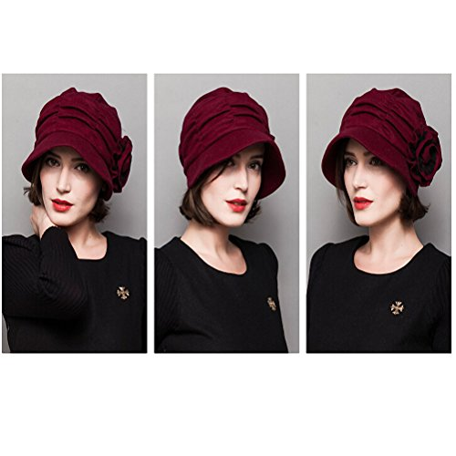 Maitose&Trade; Women's Decorative Flowers Wool Beret Red by Maitose (Image #3)