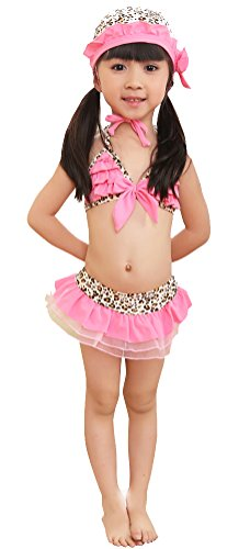 Infant Girls 3 Piece Leopard Lace Ruffled Swimsuit Swim Cap Set with Bowtie Pink XL