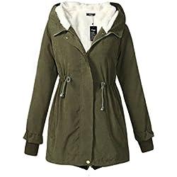 Manica lunga YACUN donna addensare cappotto di inverno del Parka cappuccio caldo Ary Green L