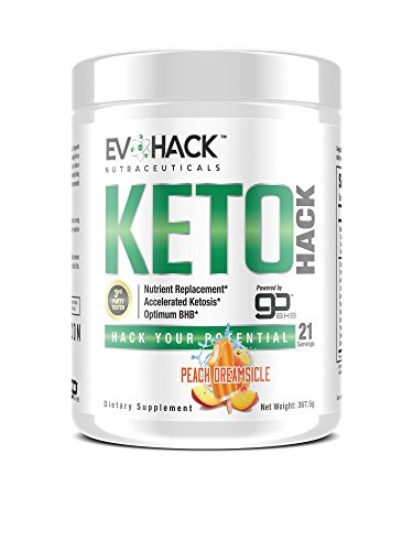 KETOHack Keto Diet - Fat Burner Appetite Suppressant for Ketogenic Diet Weight Loss - BHB Ketosis Supplement with Exogenous Ketones for Mental Focus Clarity - 21 Powder Scoops (Peach Dreamsicle) by EvoHack Nutraceuticals