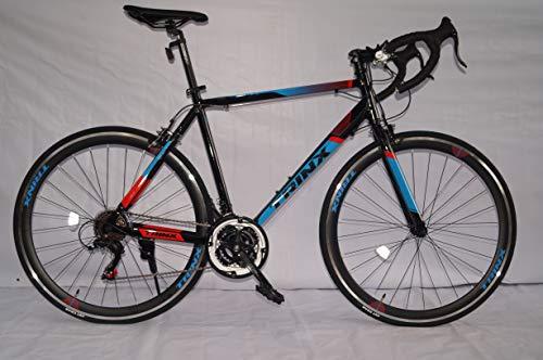 TRINX Bicicleta de Carretera Tempo 1.0 rodada 700C Talla 54 cm 21 Vel Color Negro Rojo Azul