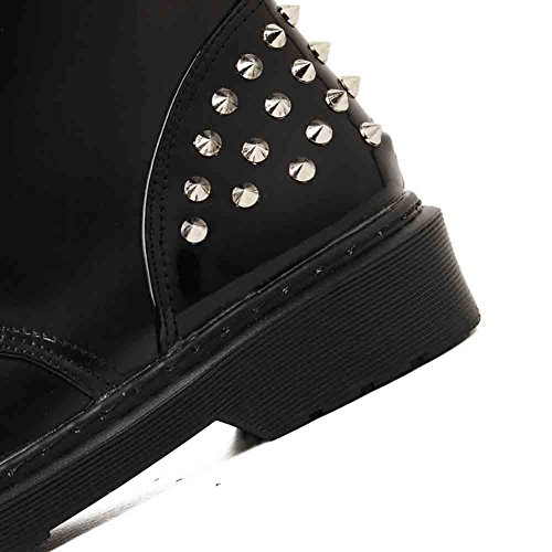 Stitching Rivets Easemax Mid Chunky Trendy Round Burnished Boots Up Platform Toe Lace Black Heel Womens EFqBI