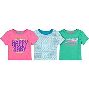 New Balance Baby Girls' 3 Pack Graphic Tees, Pink/Blue/Jade, 24 Months