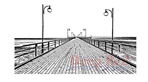 (ShopForAllYou Stamping & Embossing Rubber Cling Stamp Boardwalk Ocean Nautical Scenic View )