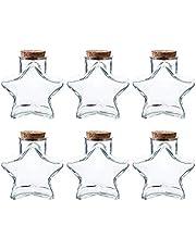 Whole Housewares Glass Favor Storage Jars Wish Bottles with Cork