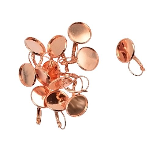 MonkeyJack 12pcs/Lot Brass Metal Blank French Earring Base Fit 16mm Cabochon Tray - Rose Gold
