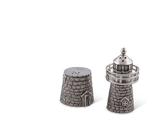 Vagabond House Pewter Lighthouse Salt and Pepper Set 3.5 Inches Tall (Shaker Pewter Pepper And Salt)