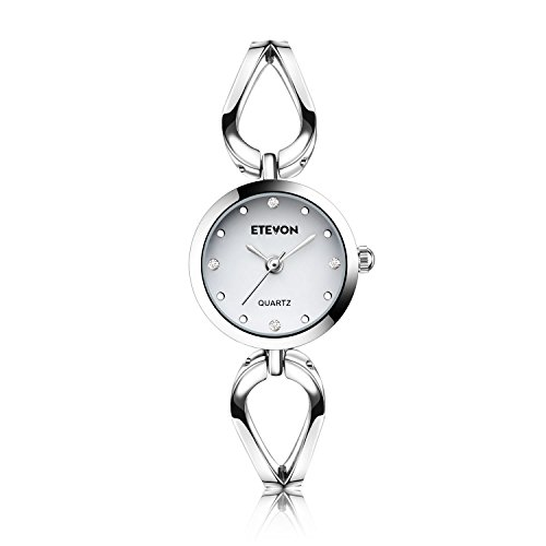 ETEVON Women's Watches Quartz Analog Wrist Watch Waterproof Stainless Steel Crystal Silver Bracelet Fashion Simple Classic Dress Casual Business - Band Crystal Fashion Watch