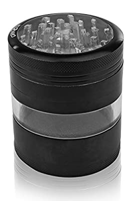 grinzer Herb Grinder with Pollen Catcher & Scraper Large Heavy Duty 2.5 Inch Anodized Aluminum Crusher for Herbs Food Spices Tea Tobacco Weed & More (Black) from Grinzer