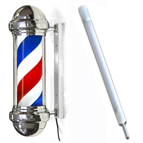 Eastmagic Barber Pole Light Red White Blue Stripes Rotating Sign Hair Salon Shop