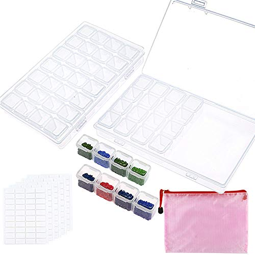 OUTUXED 2 Pack 28 Slots Diamond Painting Boxes Diamond Painting Accessory Storage Boxes with Storage Bag and 200 Pieces Craft Label Marker Stickers