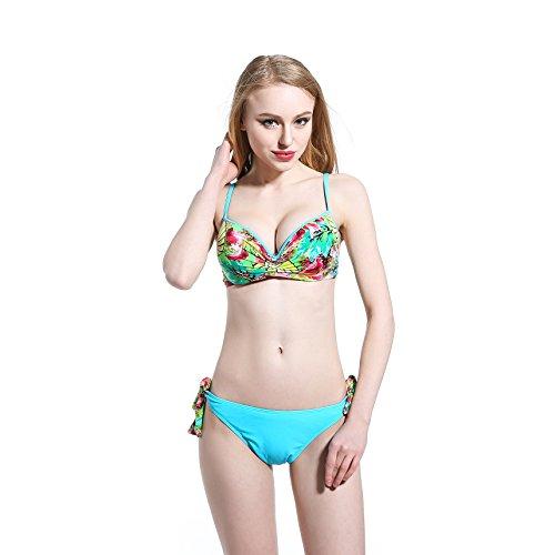SZH YIBI Sra. Del bikini del traje de baño traje de baño de cuerpo de aguas termales Europa y los Estados Unidos Delgado alta elasticidad de protección del medio ambiente Blue