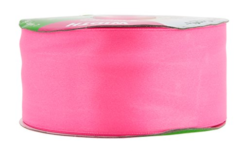 Mandala Crafts Fabric Satin Ribbon for Hair Bow Making, Sewing, Gift Wrapping, Flower Bouquets, Party Decorating, and Weddings (2 Inches 50 Yards, Pink)