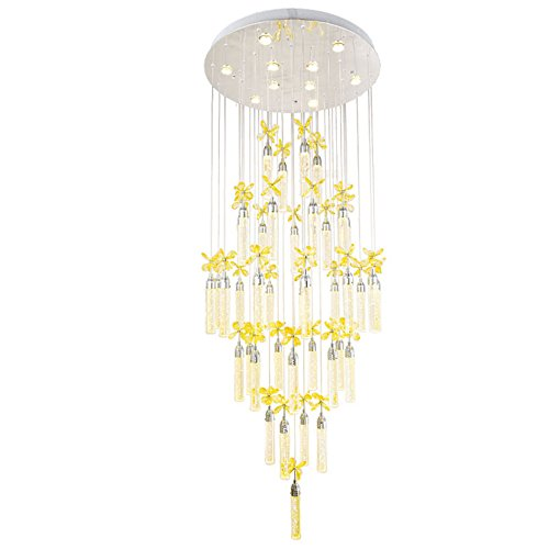Lying Crystal Flower Chandelier Led Hanging Lights Double Staircase Lights Long Chandelier Villa Living Room Big Chandelier Hotel Lobby Lights 170cm Long Warm Light Find Size 50 170cm Buy Online