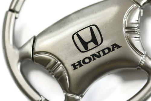 Honda Civic Accord Pilot Chrome Steering Wheel Key Fob Authentic Logo Key Chain Key Ring Keychain Lanyard