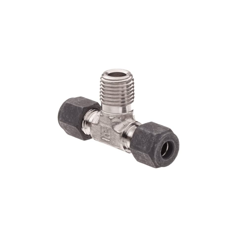 Parker CPI 4 4 4 SBZ SS 316 Stainless Steel Compression Tube Fitting, Branch Tee, 1/4 Tube OD x 1/4 NPT Male x 1/4 Tube OD