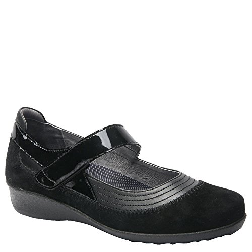 Drew Shoe Women's Genoa Timeless Casual Mary Janes, Black, Leather, 8.5 WW (Drew Leather Mary Janes)