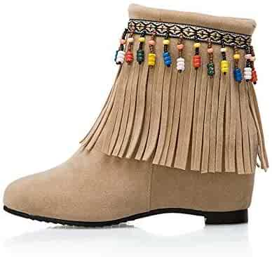 9a9e5ecf7f7c TJTG Women's Wedge Ankle Boot/Hidden Heel 8cm Trainers Bohemian Style  Fashion Boots Side Zip
