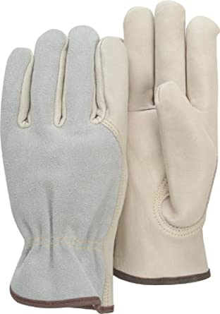 Majestic Glove 1532B B Grade Grain Cowhide Leather Combination Driver Glove with Split Back, Work, Large (Pack of 12 Pairs)