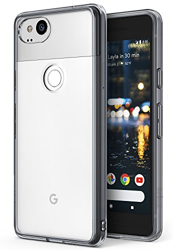 Google Pixel 2 Phone Case Ringke [FUSION] Crystal Clear Minimalist Transparent PC Back TPU Bumper [Drop Protection] Scratch Resistant Natural Shape Protective Cover for Pixel 2 - Smoke Black - Gray Smoke Crystal