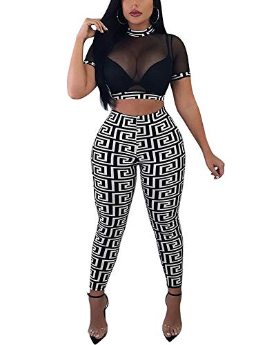 Womens Sexy Two Piece Outfits - See Through Bodycon Sheer Mesh Short Sleeve Crop Top Leggings Set Jumpsuit Romper White