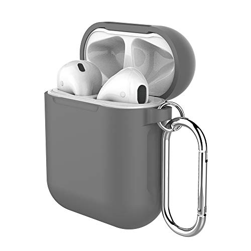 (Pothunter-Y Premium Silicone Airpods Case Protective Cover Skin with Carabiner Compatible with Apple Airpods 1 & Airpods 2 (Grey))