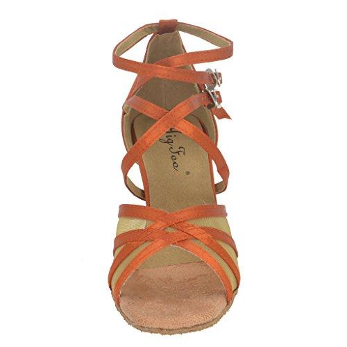 Jig Foo Sandals Open-toe Latin Salsa Tango Ballroom Dance Shoes for Women with 3 Heel Redbrown dEzrYqB