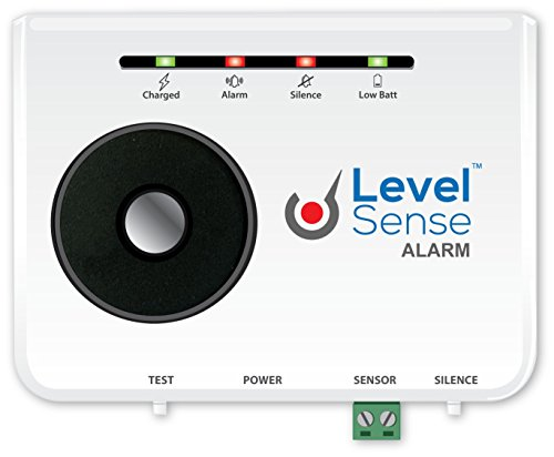 Level Sense Sump Pump Failure Alarm with Rechargeable Battery Back-Up, 20 Foot Tethered Float - Sewer Ejector Pumps