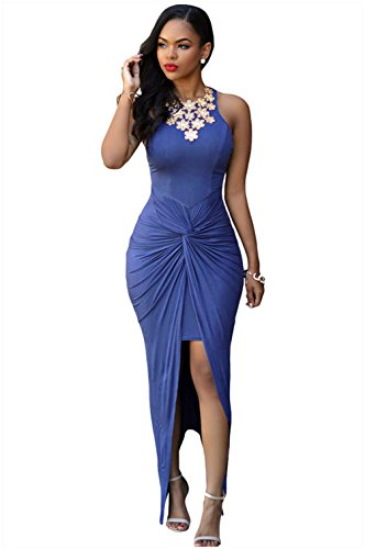 christmas-peggynco-womens-sexy-fashion-blue-knotted-slit-dress-size-l
