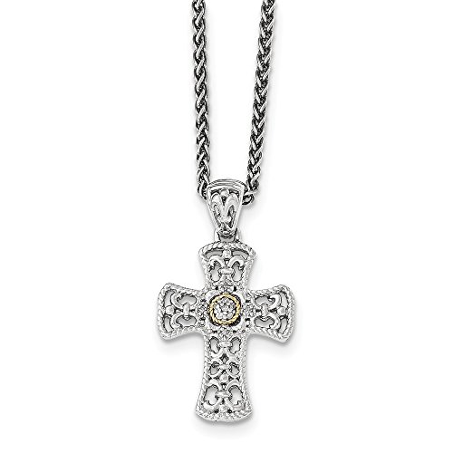 Sterling Silver and 14k Gold Diamond Cross Necklace 18in (0.05CT)