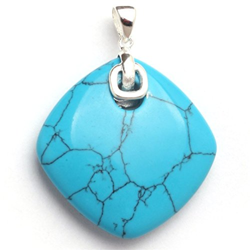 Tibetan Turquoise Jewelry (GEM-inside 33x43mm Rhombus Dyed Blue Turquoise Beads Tibetan Silver Base Pendant Necklaces)