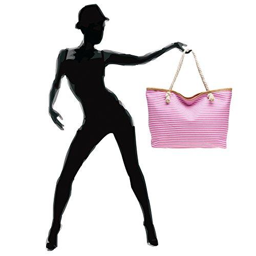 Mujer De Rayas Xl Grande Para Mano bolso Hombro A Rosa Caspar Ts1024 Playa Bolso q6TRRa