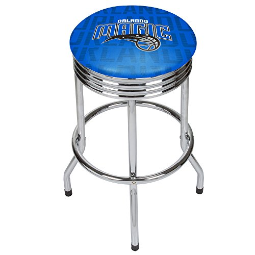 Trademark Gameroom NBA1005-OM3 NBA Chrome Ribbed bar Stool - City - Orlando Magic (City Orlando Furniture)