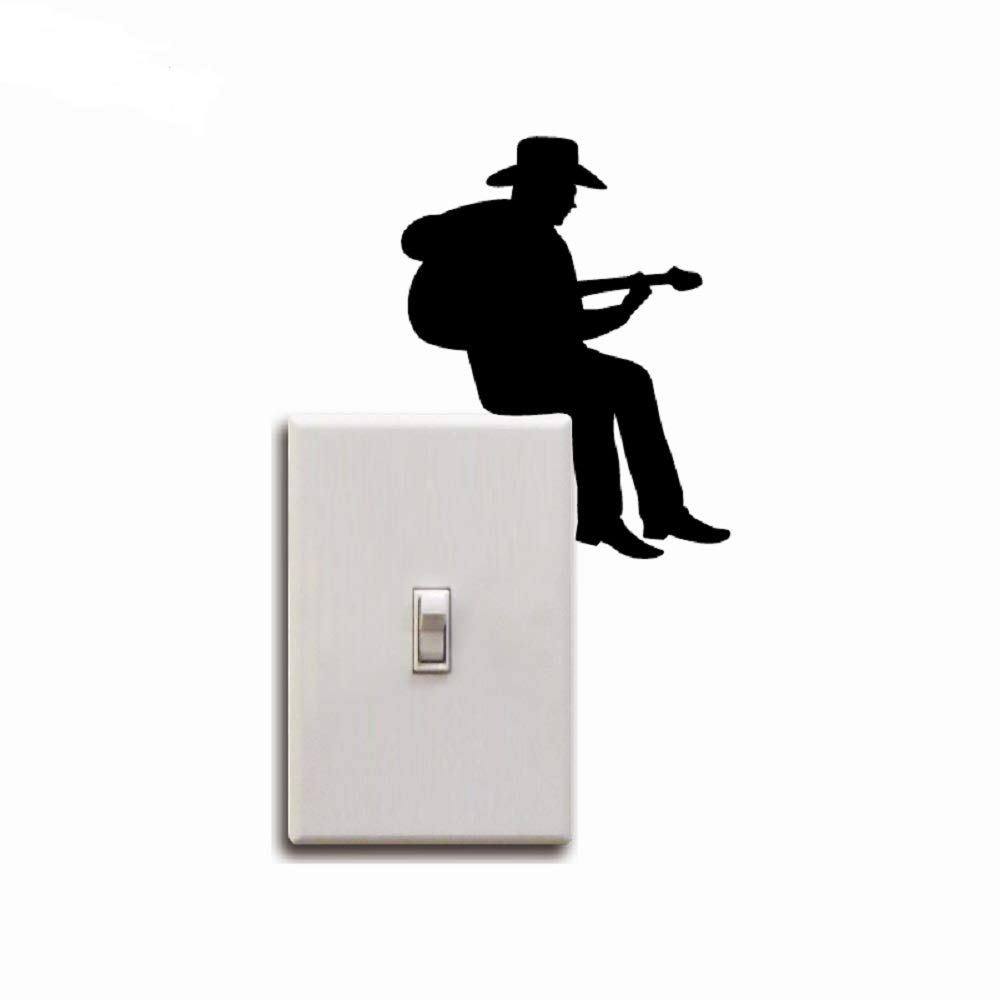 Wenquan,Vaquero Tocando Guitarra Silueta Interruptor de luz Pegatina Vinilo de Dibujos Animados música Pegatinas de Pared decoración para el ...