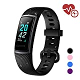 LETSCOM Fitness Tracker HR, Activity Tracker Watch with Heart Rate Monitor, Step and Calorie Counter, Screen IP68 Waterproof Pedometer Watch for Kids Women and Men (Black)