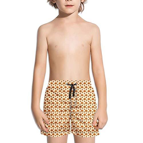 LKIMNJ Boys Board Shorts Halloween Pumpkin Quick Dry Bathing Suits Beach Board Shorts -
