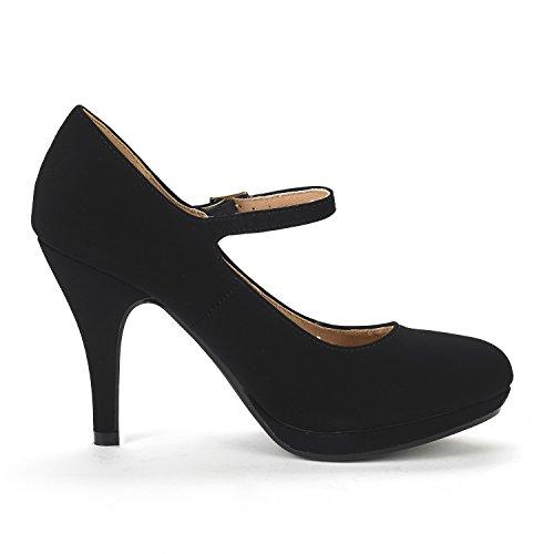 DREAM PAIRS Damen LILICA Mary-Jane Close Toe Stilleto Platform Pumps Schuhe Schwarzes Nubuk