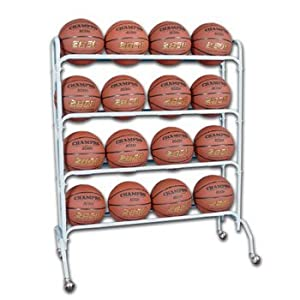 Champro 16 Ball Rack with Casters, Upright (Silver, 41 x 17 x 53)