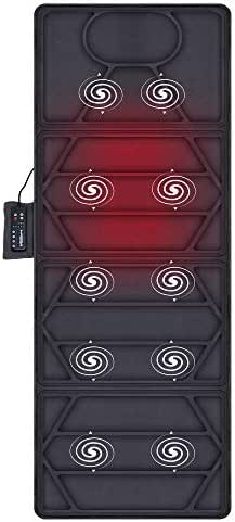 Snailax Massage Mat with Heat - 10 Motors Vibrating Massage Mattress Pad with 2 Heating Pads for Back Pain Relief, Full Body Massager for Neck and Back,Lumbar Calf Muscle Relaxation